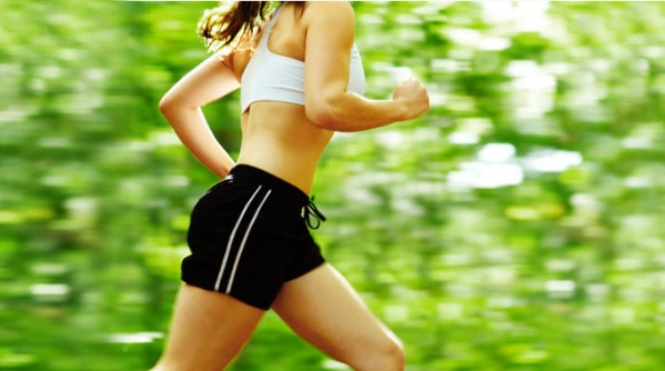 woman-running-outside-woods