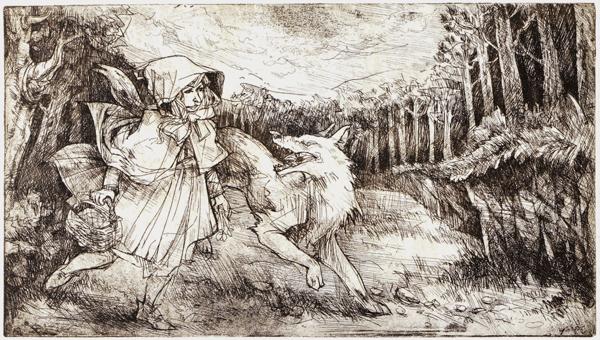Piroska és a farkas, rézkarc