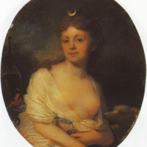 Vlagyimir Borovikovszkij: Jelizaveta Grigorjevna Tyomkina portréja Diana képében (Wikipedia)