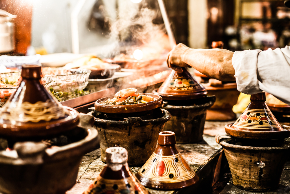 Food-stall-selling-tagines-in-Morocco