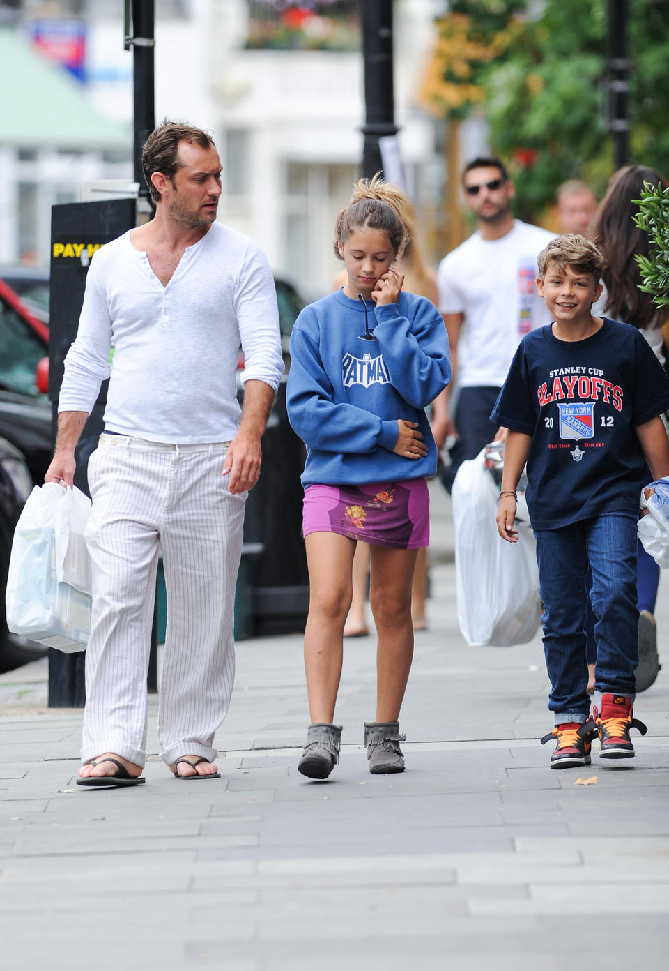 Jude Law Seen Shopping With His Children Today